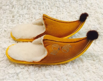 Womens slippers, Slippers Alladinki, Womens slippers,Wool slippers, Yellow slippers, Warm slippers