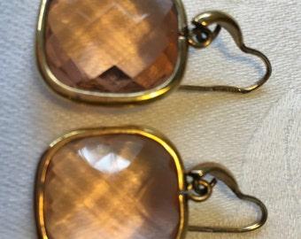 Delicate Italian pink crystal gold earrings