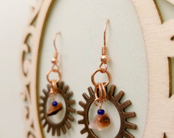Gearrings - copper gear earrings with polished stones and deep blue seed beads
