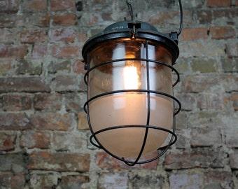 CCCP Original Industrial factory large Cage Lamp Fabrik Design Bunker Lampe LOFT made in Soviet Union