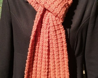 Extra Long Hand-knit Textured Orange Skinny Scarf