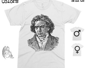 Beethoven Portrait T-shirt, Tee, American Apparel, Composer, Moonlight, Sonata, Symphony, Music, Classical, Piano, Cute Gift