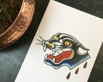 Panther Tattoo Print