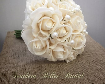 Ivory Rose Wedding Bouquet with Real Touch Roses and Pearls