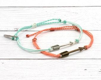Wax Cord Bracelet, Arrow Charm, Friendship Bracelet, Boho Surfer Bracelet, Stackable Beach Bracelet, Waterproof Waxed Cord Bracelet