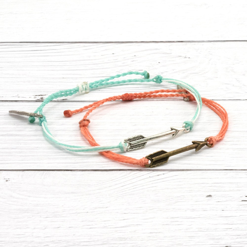 wax cord bracelet arrow charm friendship bracelet boho