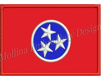 Tennessee State Flag Machine Embroidery Design 3 Size