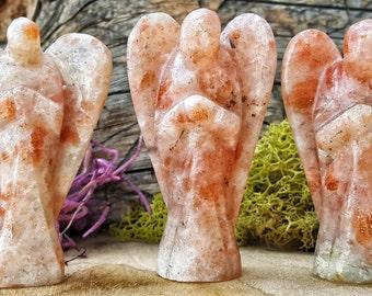 Sunstone Crystal Angel - Hand Carved figurine Guardian Gem Stone for Crystal Grids or Terrarium 294