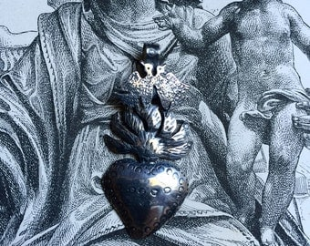 Silver Sacred Heart with Flames and Two Doves on Chain, Silver Milagro from Mexico
