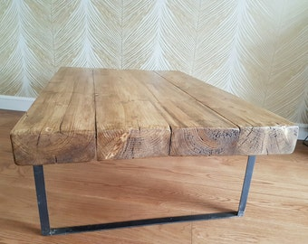 Wooden Beam Coffee Table  - Industrial style
