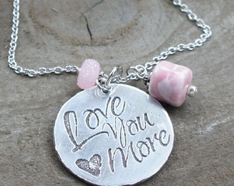 Meaningful Necklaces, Motivational Jewelry, Love You More Inspiration Necklaces, Necklace with Words, Love Pendant