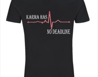 Karma Mens Black Tee. Organic Black Cotton Graphic T-Shirt by The BlackTee Shack