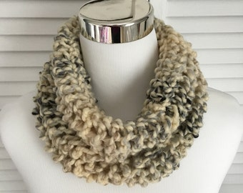 Tan Gray Striped Infinity Cowl Scarf