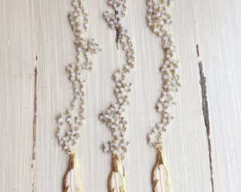 Beaded Leafy Necklace