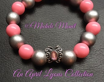 Pink & Silver Butterfly Charm Bracelet