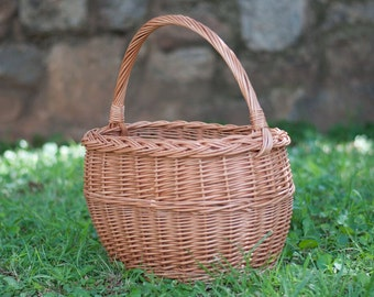 Oval Braided Wicker Basket - Handmade - Naturally Woven Farmers Market, Gift or Storage Basket, Fall, Willow Farm Style Basket