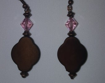 Dangle Earrings w/Pink Swarovski Crystal