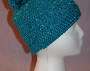 Pom Pom Hat - Turquoise sparkle