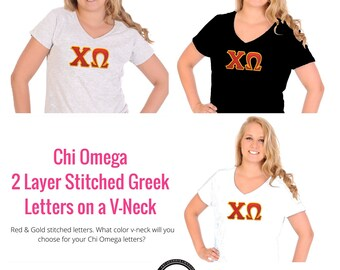 Chi Omega Shirt . V-Neck . Two Layer Stitched Greek Letters