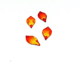 Faceted Flame Rhinestone, Swarovski Crystal, 2205 Fire Opal, 14mm, No Hotfix, Amber Teardrop, Swarovski Beads, Pear Shape, Foil Back,YC2659A