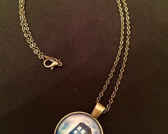 Doctor Who Tardis Glass Pendant Necklace