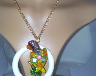 parot, magnetic, gold plated necklace