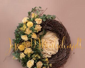 NEWBORN DIGITAL BACKDROP: Soft Yellow Floral Nest