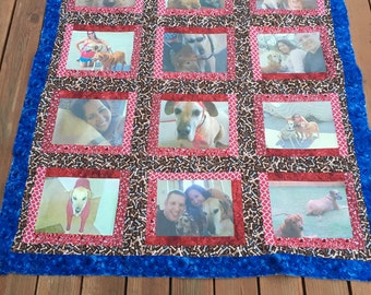 12 photo personalized quilt