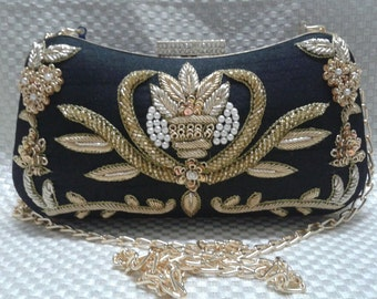 Vintage Zari Embroidery/Wedding Clutch with Rhinestone Clasp
