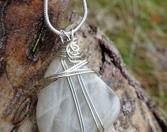 Quartz Gemstone Silver Wire Wrapped Pendant Necklace, Minimalist Mother Earth Boho Style, Unique Nature Inspired One of a Kind Gift for Her