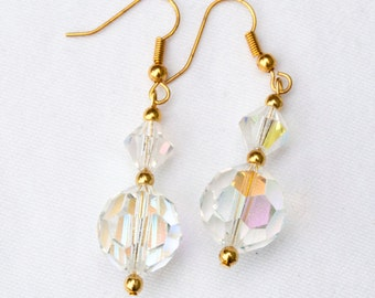 Earrings with Czech Glass Crystal Beads