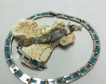 SALE Vintage TAXCO Mexican choker Necklace and bracelet set - sterling silver + crushed Turquoise inlay - Both signed JVG Mex. Mexico 925