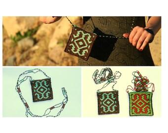 Handmade Icaros Beaded Peruvian Jungle Sacred Medicine Bag Native Purse ChestPlate Shipibo