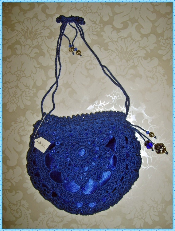 Silk Crochet Evening Bag Purse Clutch Royal by JoyceLynnDesign
