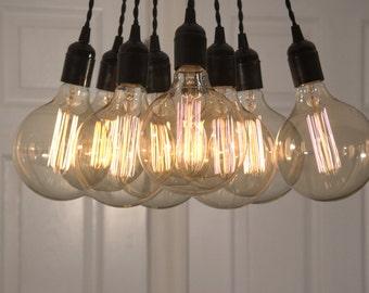 Elegant 9 Pendant Hanging Edison Bulb Chandelier
