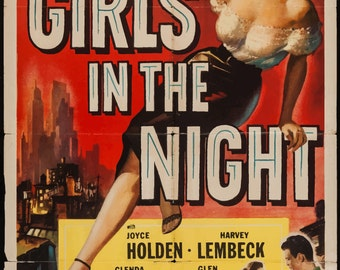"LARGE SIZE Vintage Movie Poster Print ""Girls in the Night"" / Large Poster / Big Poster / Feminist Poster / Empowerment Poster"