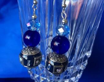 Blue and Boho Black Dangle Earrings