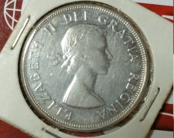 Coin - 1959 Silver Canadian 50 Cent Piece, circulated condition