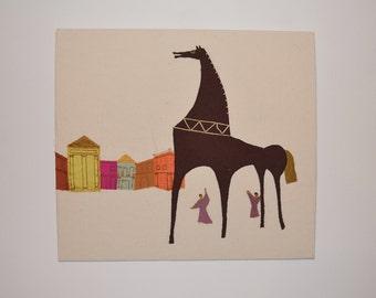 Sewn Picture: Trojan Horse Greek Myth
