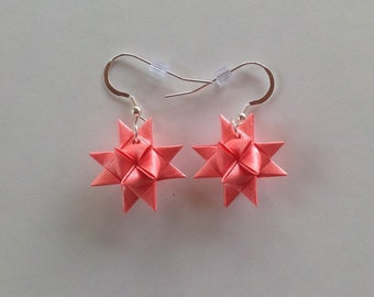 Moravian Star Earrings—Coral