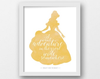 Beauty and the Beast, Belle, PRINTABLE, Disney print, Disney quote, Disney princess, Yellow, Girls room decor, wall art, Girls nursery