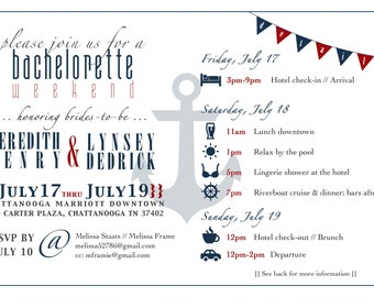 Nautical Theme Bachelorette Party Invite 5x7 Custom Graphic Stationary