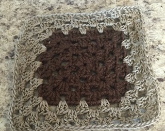 Washcloth ~ Dish rag ~ scrubby ~ Brown Tan ~ Good cause ~ made by blind person