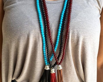Beaded necklace with suede tassel, Handmade necklace, Tassel necklace
