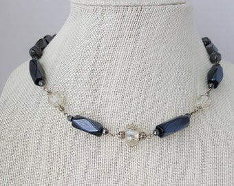 Hematite beaded necklace with wire caged beads