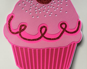 Set of 10 Pinkalicious Birthday Party Invitation, Pink Cupcake