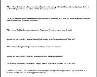 Wedding Details Questionnaire
