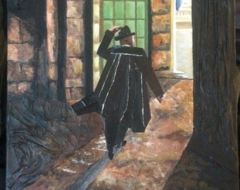 Man in a Black Coat-Mixed Media Acrylic Painting