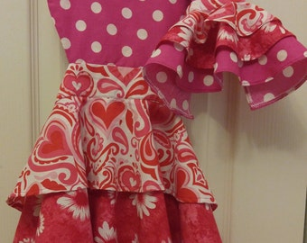 Matching Girl and Doll Layered Apron/Pink