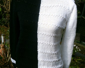 Knitted jumpers, black and white with a stand-up collar, size 38-40 (M-L).